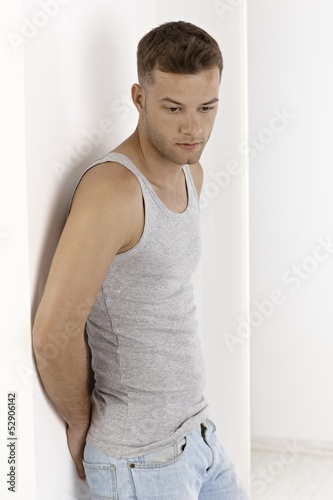 Young man in undershirt