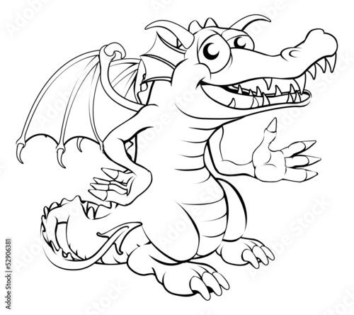 Happy cartoon dragon