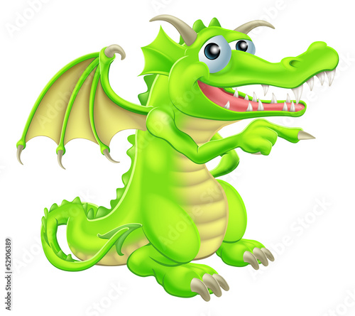 Cartoon Dragon Mascot Pointing