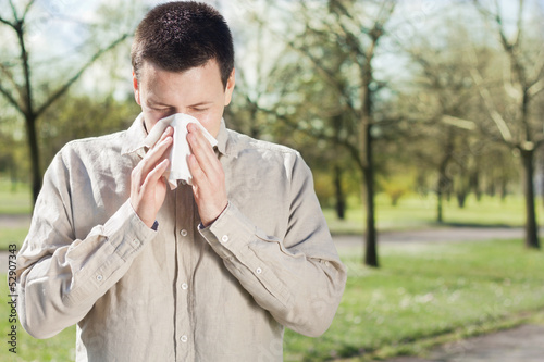 Man suffering from flu or allergy