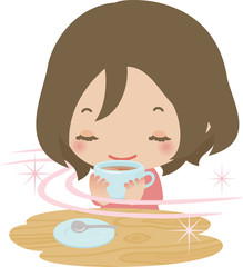 お茶を飲んでくつろぐ若い女性