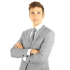 Portrait of young businessman, isolated on white