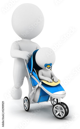 3d white people pushing a baby in a stroller