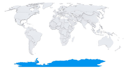 Antarctica on bump map of the world