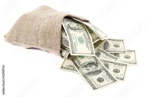 Hundred dollar bills in a canvas sack isolated on white backgrou