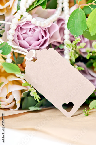 flowers with gift tag