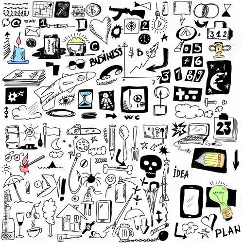 Doodle design elements, hand drawn illustration business