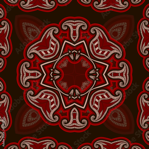 Patterned floor tile in oriental style  in red and black colors