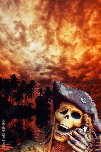 Leinwandbild Motiv Pirate skeleton in the caribbeans