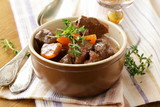 beef goulash (stew)  with vegetables and herbs