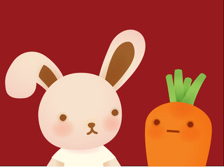 Cute Rabbit and Carrot - Vector File EPS10