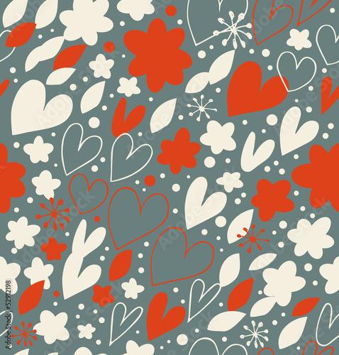 Materiał do szycia Hand drawn background with hearts and flowers