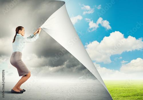 Leinwandbild Motiv Woman changing reality