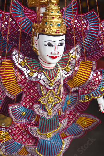 Traditional Myanmar puppet with colorful clothes