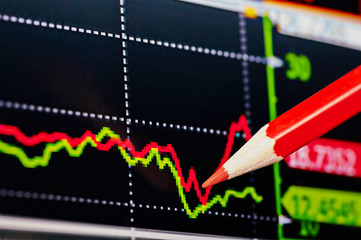 Downtrend financial chart with the red pencil. Selective focus