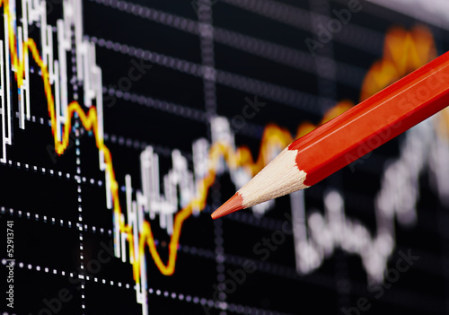 Financial chart with the red pencil. Selective focus