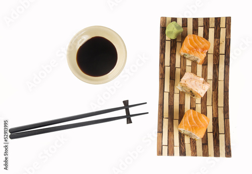 Sushi (California Roll) on a white background