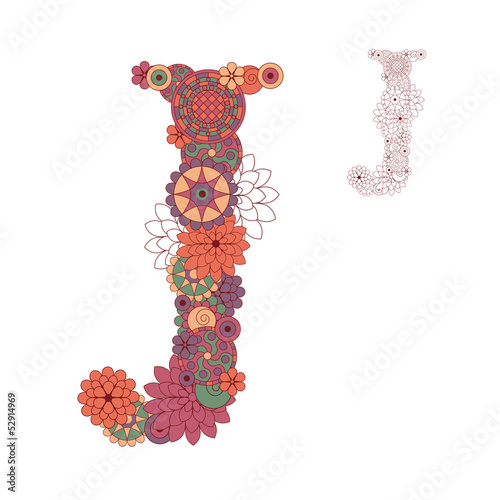 Vector illustration on the letter J