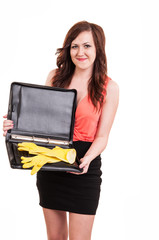 funny picture of young business woman hiding her yellow rubber g