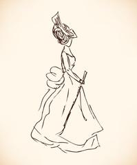 Sketch of woman in retro clothes