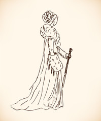 and drawn modern woman silhouette