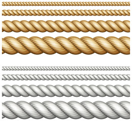 Set of ropes on white