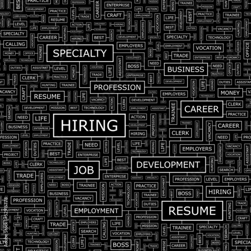 HIRING. Word cloud concept illustration.