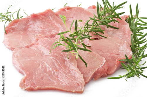 Veal meat and rosemary close up on white