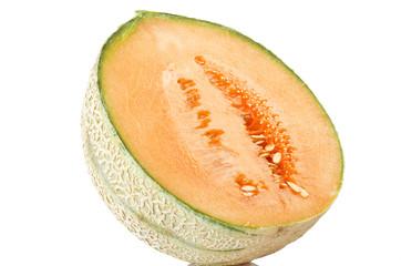 orange cantaloupe melon sliced close up on the white
