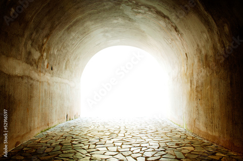 Tunnel with light coming from the exit. - 52916597
