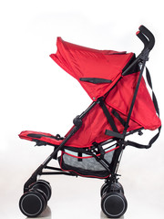 Red baby stroller side view