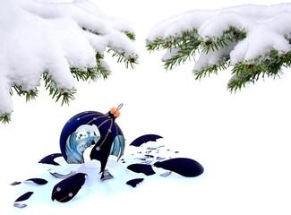Christmas tree and broken glass bauble, failed christmas