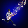 Artist perform guitar on blue background