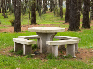 Stone table and benchs in a park