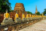 Old Buddha Status at wat yai chaimongkol temple ayutthaya thaila