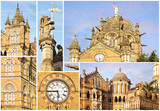 Collage of the details of the Victoria Railway station. Mumbai