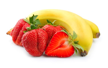 Juicy strawberry with banana