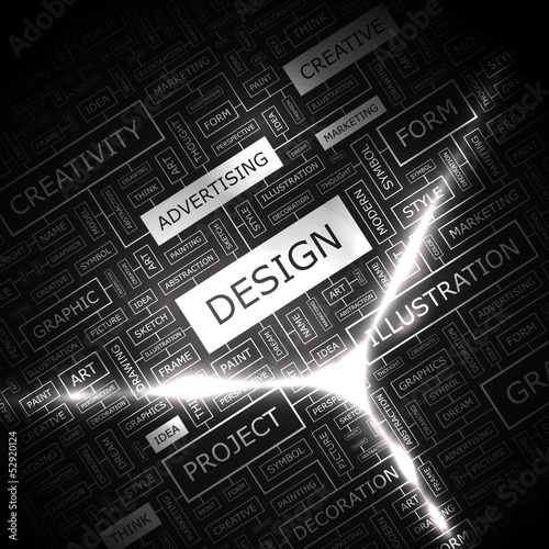 DESIGN. Word cloud concept illustration.