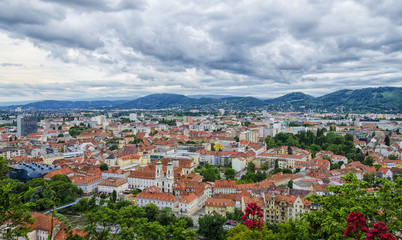 Areal View of Graz city