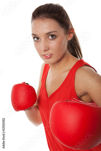 Pretty girl boxing