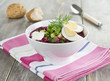Beetroot soup with nettle, cucumber and potatoes