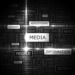MEDIA. Word cloud concept illustration.
