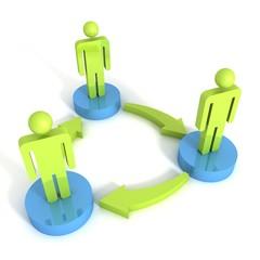 3d man group arrows connection teamwork concept