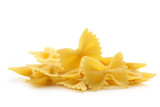 heap of bow tie pasta on white background