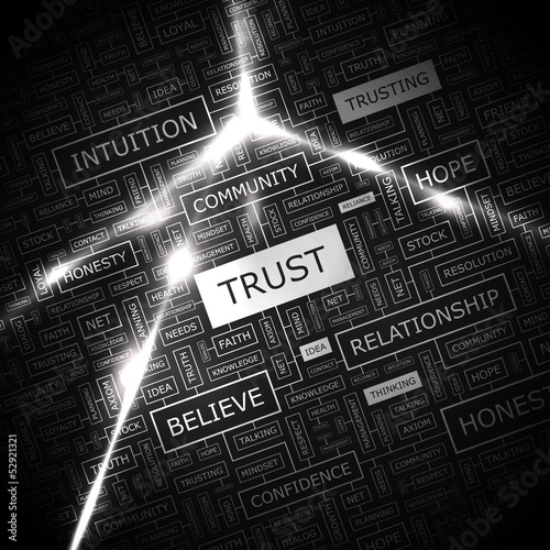 TRUST. Word cloud concept illustration.
