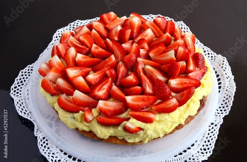 bisquit fruit cake with strawberries