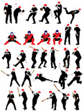 baseball silhouette set