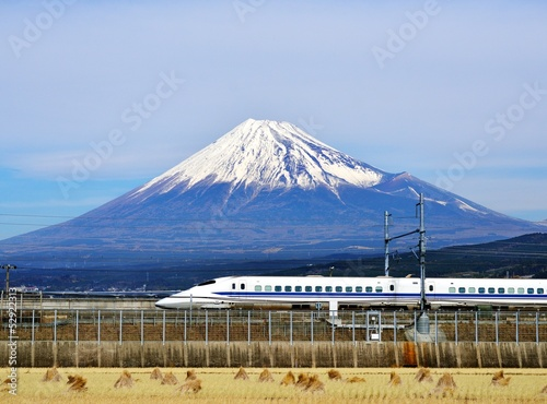 Spoed canvasdoek 2cm dik Japan Mt. Fuji and the Bullet Train