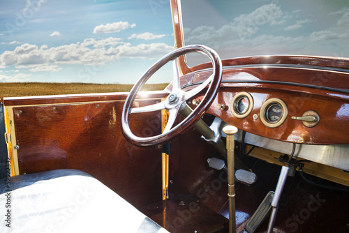 Wall mural Vintage retro car interior