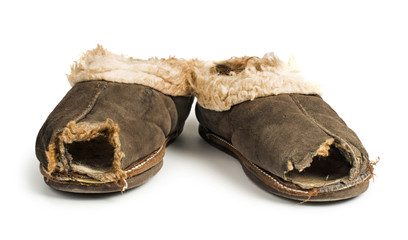 Old torn boots of leather
